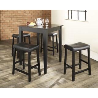Crosley Furniture Black 5-piece Pub Dining Set with Upholstered Saddle Stools