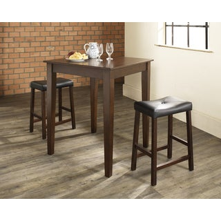 Crosley Furniture Brown Wood Table and Upholstered Saddle Stool Pub Dining Set (Set of 3)