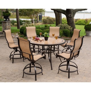 Hanover Monaco Tan Aluminum 56-inch 7-piece Outdoor Dining Set