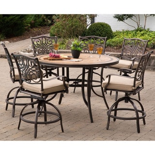 Monaco 7-Piece High-Dining Set in Tan with a 56 In. Tile-top Table and 6 Swivel Chairs