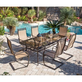 Hanover Monaco 7 Piece Dining Set With Spring Sling Chairs And Glass Top  Dining