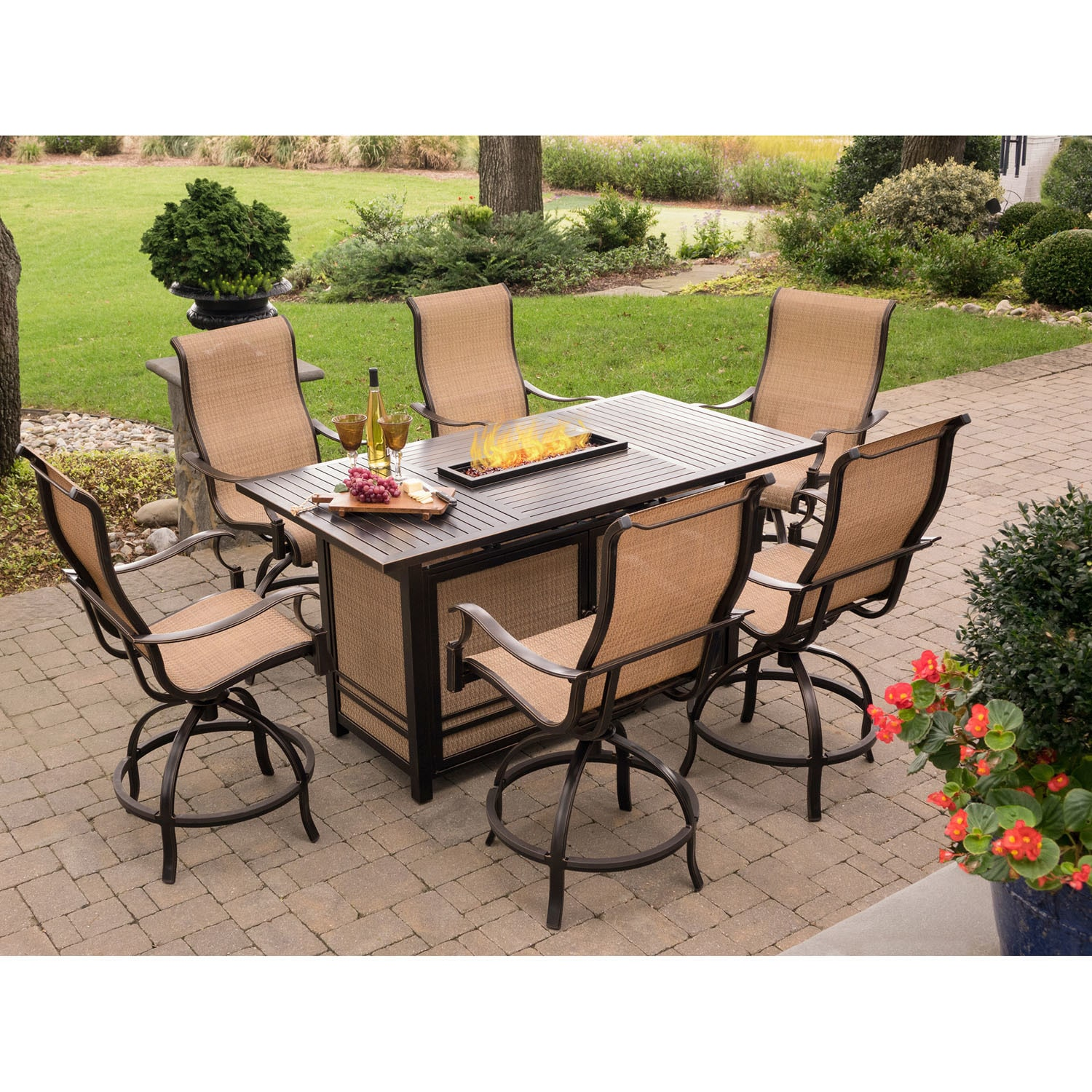 Monaco 7-Piece High-Dining Set with 6 Swivel Rockers and a 30,000 BTU Fire Pit Table (Tan)