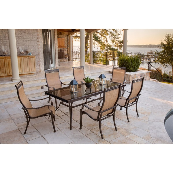 Hanover Monaco 7-Piece Dining Set with Six Sling-back Dining Chairs and One Extra Large Glass-top Dining Table