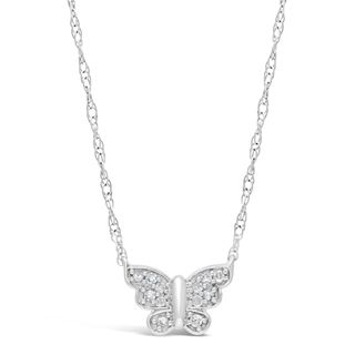 Sterling Silver 1/10 ct. TDW Diamond Butterfly Necklace