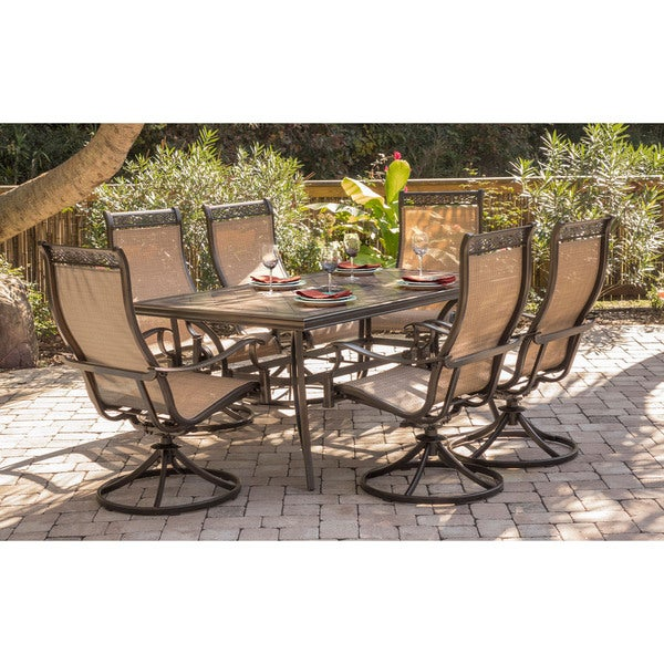 Shop Hanover Monaco Tan Aluminum Piece Dining Set With Six Swivel - 68 inch dining table