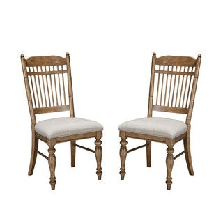 Intercon Lakehouse Brushed Sand Upholstered Spindle Back Dining Chair (Pack of 2)