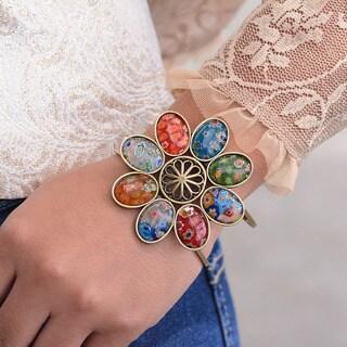 Sweet Romance Millefiori Glass Retro Flower Cuff Bracelet