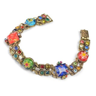 Sweet Romance Millefiori Glass Geometric Retro Link Bracelet - Brown
