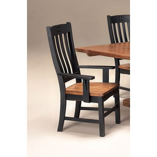 Intercon Rustic Mission Black and Rustic Curved Slat Back Dining Arm Chair -2 pack