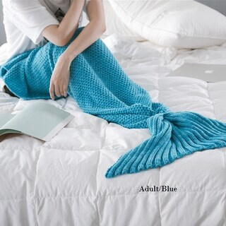 Cheer Collection Large Mermaid Tail Blanket (Option: Adult/Blue)