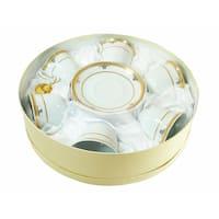 D'Lusso Designs Gold Deco Design Twelve Piece Coffee Set In Hat Box
