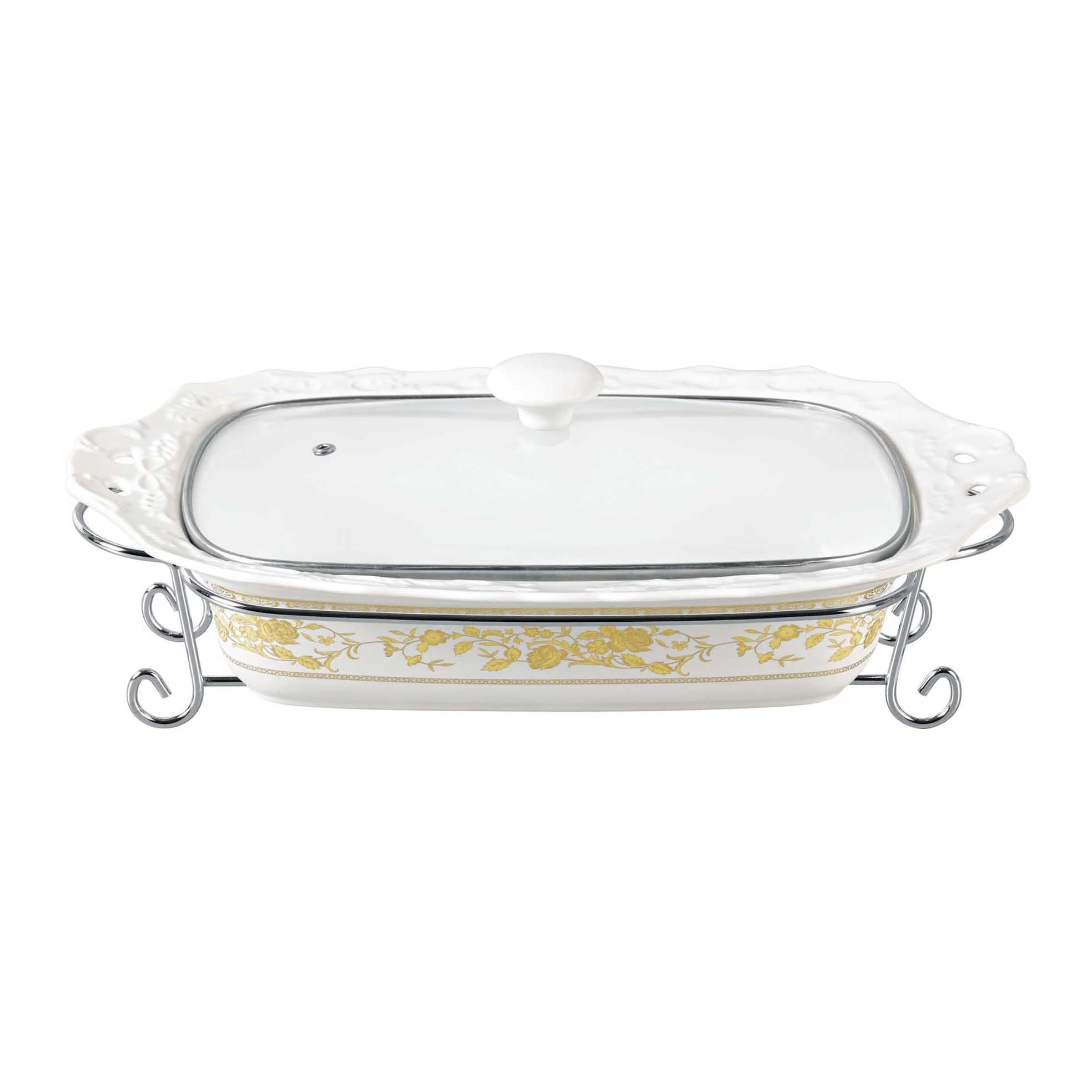DLusso Designs Chic Design Fifteen Inch Rectangular Casserole With Metal Stand