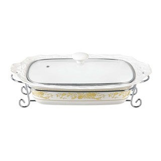 D'Lusso Designs Gold Rose Design Fifteen Inch Rectangular Casserole With Metal Stand