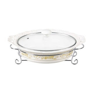 D'Lusso Designs Gold Rose Design Fourteen Inch Oval Casserole With Metal Stand