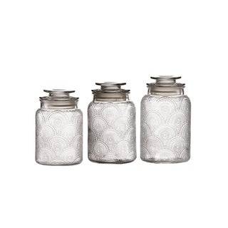 Glass Medallion Canisters - Set of 3