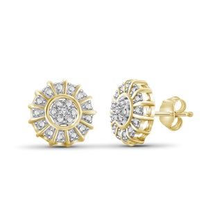 Jewelonfire Genuine Accent White Diamond Cluster Earring in 14K Gold Plated Brass
