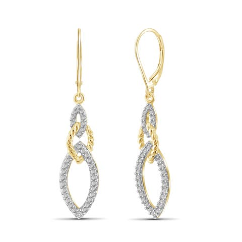 Jewelonfire Genuine Accent White Diamond Marquise Earring in 14K Gold Plated Brass - Yellow