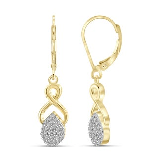 Jewelonfire Genuine Accent White Diamond Infinity Earring in 14K Gold Plated Brass