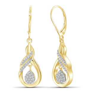 Jewelonfire Genuine Accent White Diamond Dangle Earring in 14K Gold Plated Brass