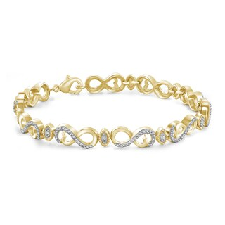 Jewelonfire Genuine Accent White Diamond Infinity Bracelet in 14K Gold Plated Brass