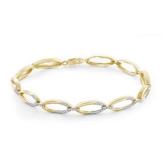 Jewelonfire Genuine Accent White Diamond Bracelet in 14K Gold Plated Brass