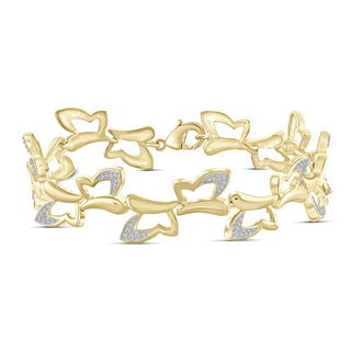 Jewelonfire Genuine Accent White Diamond Butterfly Bracelet In Brass