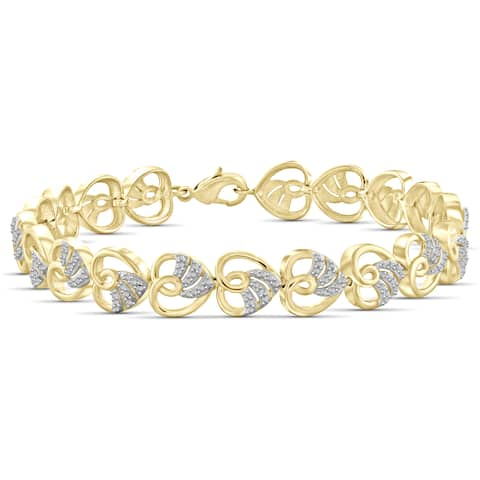 Jewelonfire Genuine Accent White Diamond Heart Bracelet in 14K Gold Plated Brass - Yellow