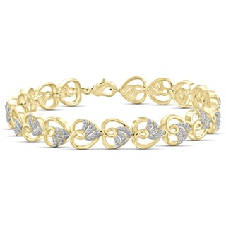 Jewelonfire Genuine Accent White Diamond Heart Bracelet in 14K Gold Plated Brass