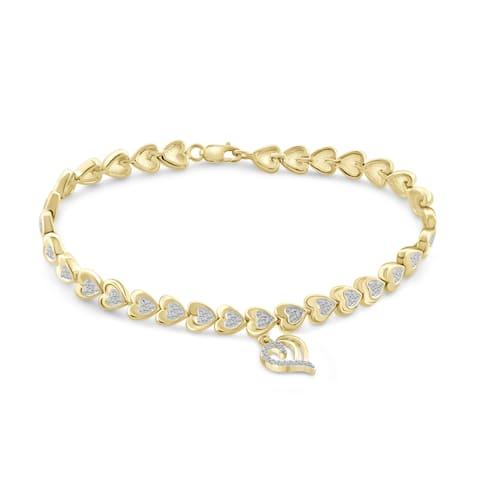Jewelonfire Genuine Accent White Diamond Heart Bracelet in Brass - Yellow