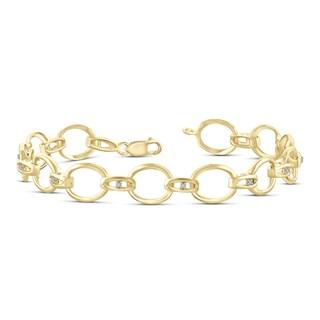 Jewelonfire Genuine 1/20 CTW White Diamond Bracelet in 14K Gold Plated Brass - Yellow