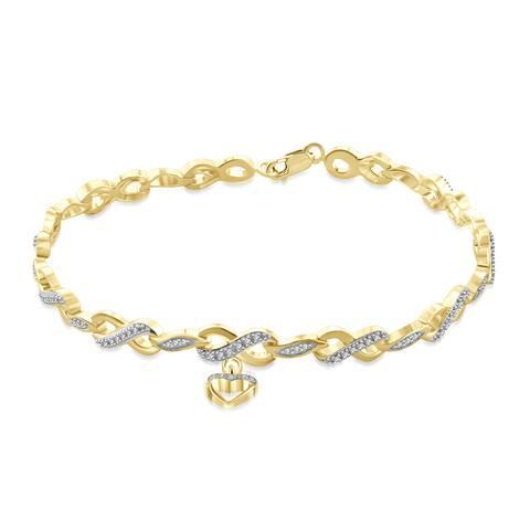 Jewelonfire Genuine Accent White Diamond Infinity Bracelet in 14K Gold Plated Brass - Yellow