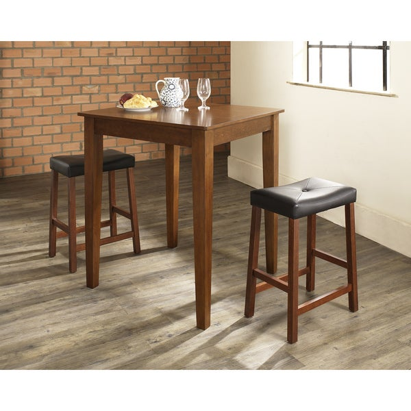 Napoleon Styled Saddle Brown Kitchen Chair: Crosley Furniture 3-piece Pub Dining Set With Brown