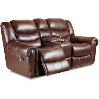 Cambridge Lancaster Burgandy Fabric Double Reclining Loveseat
