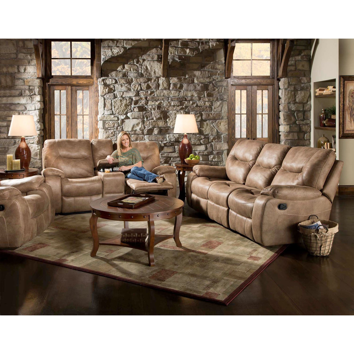 Cambridge Homestead Tan Fabric Double Reclining Loveseat ...