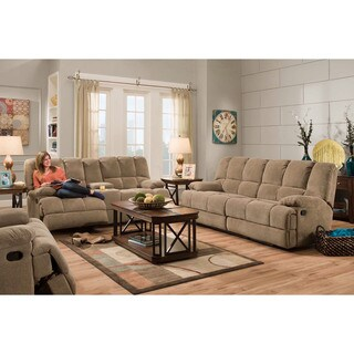 Cambridge Penn Brown Fabric Double Reclining Sofa