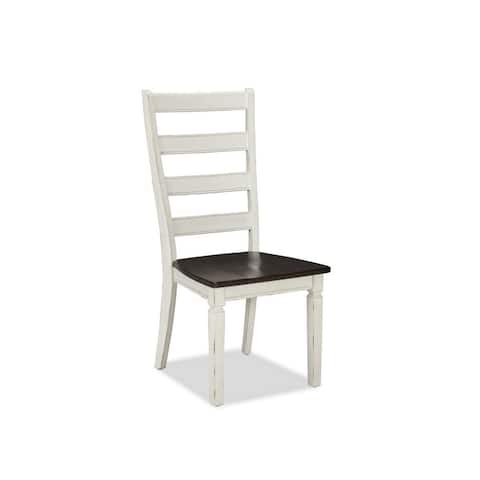 Glenwood Rubbed White and Charcoal Ladderback Dining Chair (Set of 2)