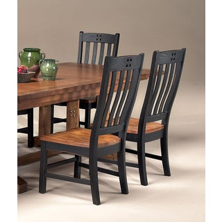 Rustic Mission Black and Rustic Curved Slat Back Dining Chair (Pack of 2)