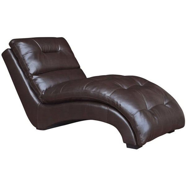 Cambridge Savannah Chocolate Brown Faux Leather Chaise Lounge  sc 1 st  Overstock.com : brown leather chaise - Sectionals, Sofas & Couches