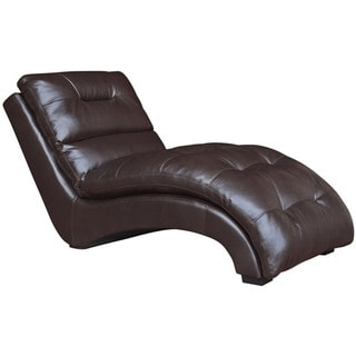 Cambridge Savannah Chocolate Brown Faux Leather Chaise Lounge
