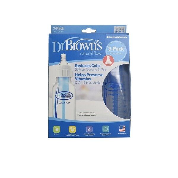 Dr. Brown's BPA Free Polypropylene 8-ounce Natural Flow Standard Neck Bottle