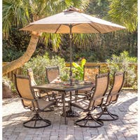 Hanover Monaco 7-Piece Dining Set with Six Swivel Rockers, a 68 x 40 in. Dining Table, 9 Ft. Table Umbrella, and Umbrella Stand