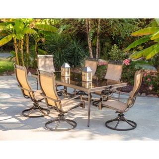 Hanover Monaco 7-Piece Dining Set with Six Sling-back Swivel Rockers and One Extra Large Glass-top Dining Table