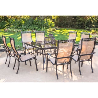 Hanover Monaco Tan Aluminum 9-piece Dining Set with 60-inch Square Glass-top Table and Eight Stationary Dining Chairs