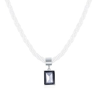 Hakbaho Jewelry Faux Pearl Beads Necklace with Cubic Zirconia Square Pendant