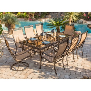 Hanover Monaco 9-Piece Dining Set with Six Dining Chairs, Two Swivel Rockers, and an Extra Long 42 In. x 84 In. Dining Table