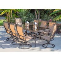 Hanover Monaco 42-inc inches high x 84-inch Dining Table Eight Swivel Rockers 9-piece Dining Set