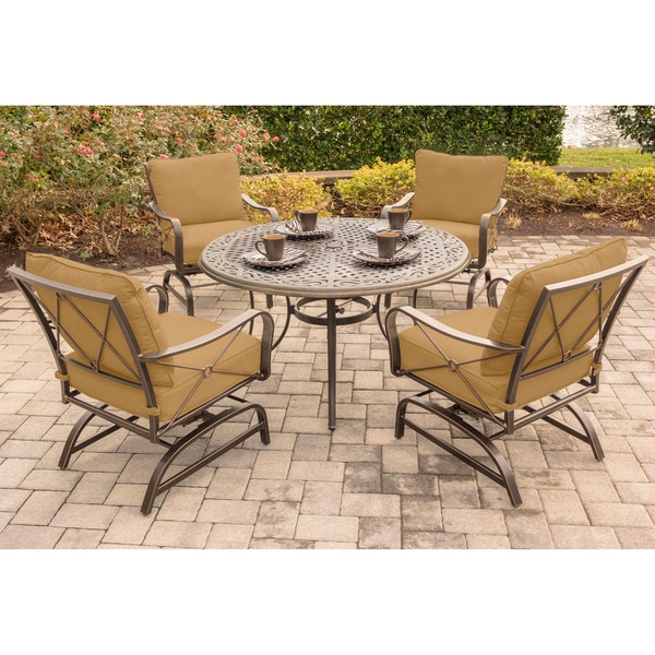 Hanover Summer Nights 5-Piece Dining Set with Four Cushioned Rockers and a 48 In. Cast-top Table