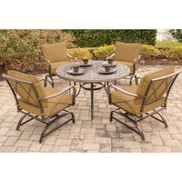 Hanover Summer Nights Aluminum 5-piece Dining Set with 4 Cushioned Rockers and 48-inch Cast-top Table