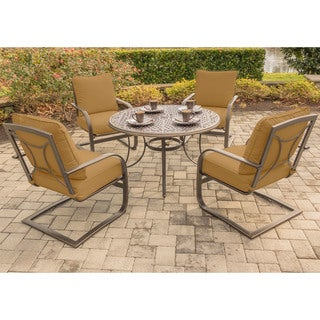 Hanover Summer Nights 5-Piece Dining Set with Four C-Spring Rockers and a 48 In. Cast-top Table