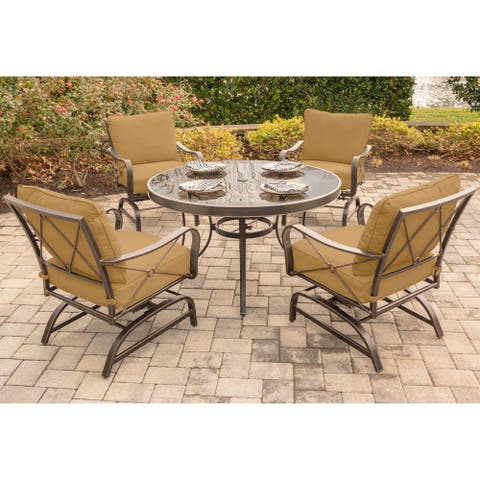 Hanover Summer Nights 5-Piece Dining Set with Four Cushioned Rockers and a 48 In. Glass-top Table